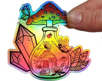 Potion bottle sticker, fairy garden sticker, vinyl holographic sticker, nature laptop decor, mushroom lover gift