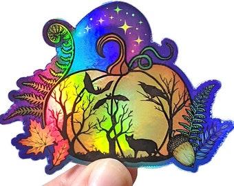 Pumpkin sticker, spooky holographic vinyl sticker, magical Halloween lover art, autumn and fall planner decor, cute witchy sticker