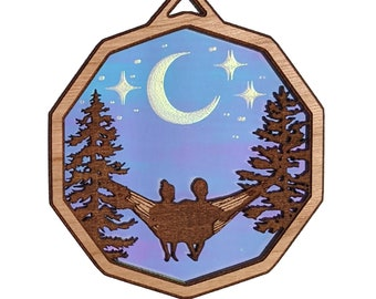Couple in hammock ornament, stargazing Mr. and Mrs. night sky ornament, husband and wife gift, layered iridescent wood ornament