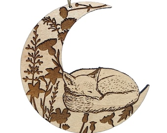 Sleeping fox ornament, crescent moon and wildflowers ornament, bohemian floral wood ornament, wood burned nature gift idea