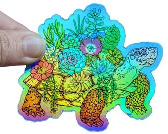 Desert tortoise sticker, cacti and succulent lover gift, weatherproof vinyl sticker, holographic animal sticker, wildlife water bottle decor