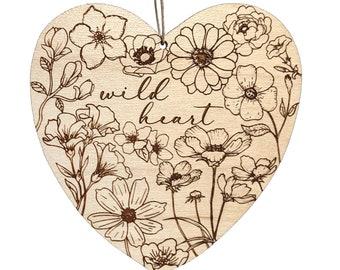 Wild heart ornament, wildflowers ornament, bohemian floral wood ornament, boho laser flowers, wood burned nature gift idea