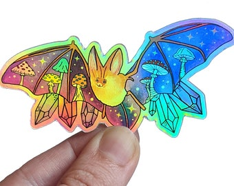 Bat sticker, mushroom and crystal lover gift, holographic vinyl sticker, magical Halloween art, fall planner decor, cute witchy sticker
