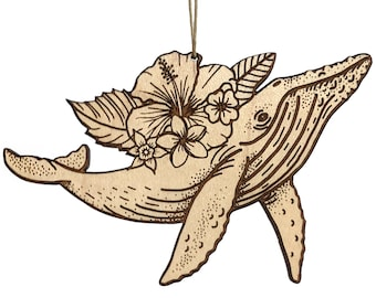 Humpback whale ornament, tropical animal ornament, floral wildlife wood ornament, wood burned nature gift idea