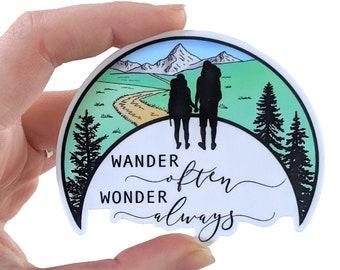 Hiking sticker, vinyl outdoor sticker, waterproof nature sticker, wander often sticker, decorative mountain laptop and water bottle sticker
