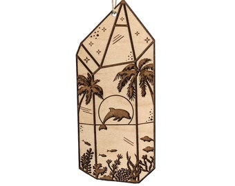 Tropical dolphin ornament, Hawaiian beach ornament, coral reef crystal wood ornament, wood burned nature gift idea