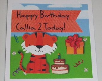 Childrens Tiger Birthday Card Name And Age For Kids Bold Coloured Personalised