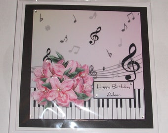 Music Lover Birthday Card With Piano Keys Musical Notes And Pretty Pink Flowers Themed