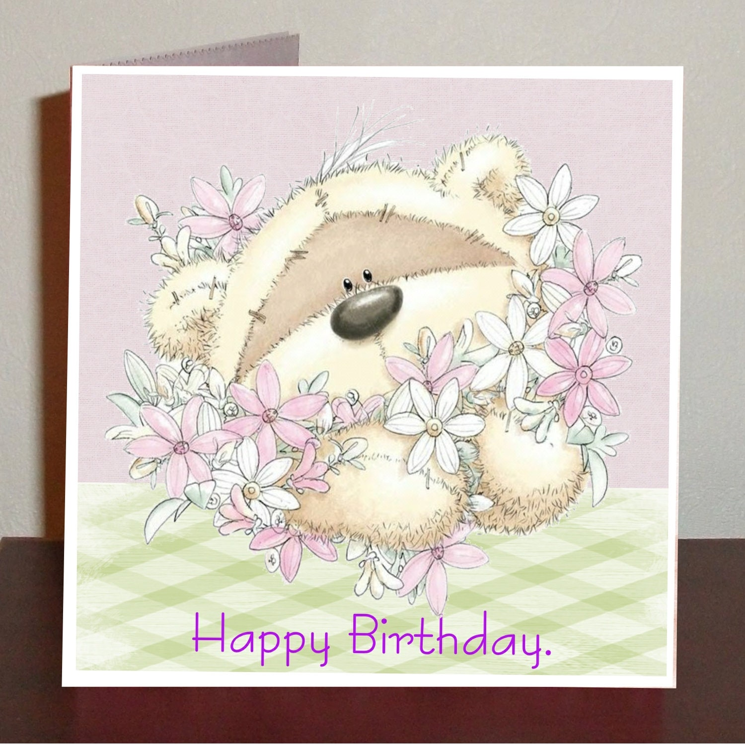 Cute Birthday Card With Teddy And Flowers Etsy