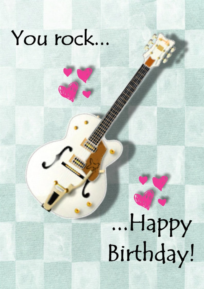 Guitar Birthday Card Happy You Rock Add Name And Age