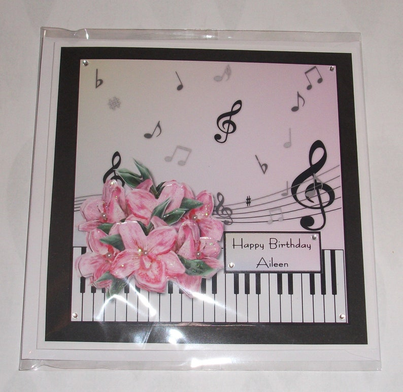 Music Lover Birthday Card With Piano Keys Musical Notes And
