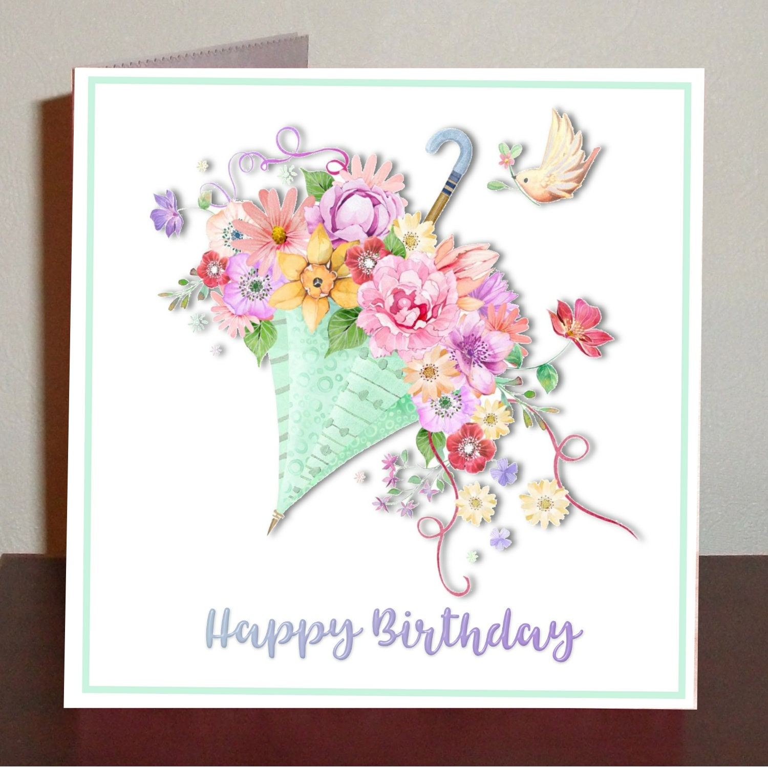 Birthday card with parasol filled with flowers birthday card etsy zoom izmirmasajfo