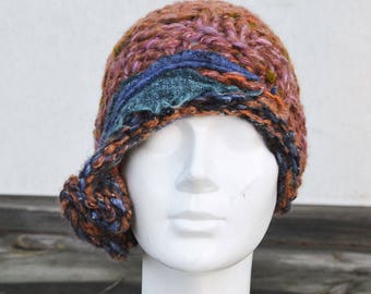 9aa48fbe3ae retro cloche hat brown felt 1920 1930 knit winter tangerine womans winter  beanie