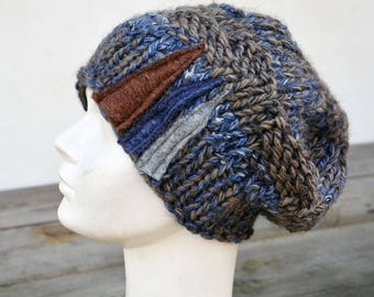 8078be10afa Cobalt blue big Hand knited Slouchy hat soft warm ooak unique fashion  design felt decoration