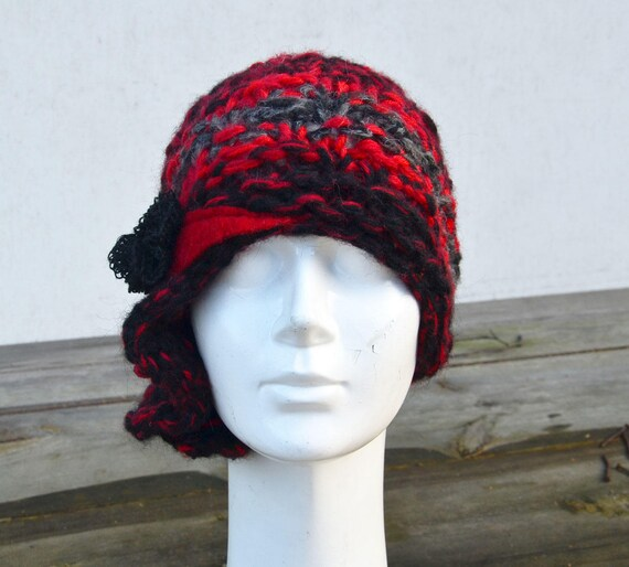 1a2d031cdf2 red Beanie UNIQUE hand knited asymmetric retro cloche soft