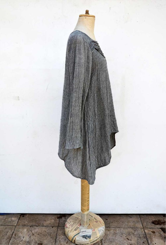 S size natural eco flax clothing 102 thin wool woman unique fashion design pure natural tunic by ZOJKA long sleeves melange black