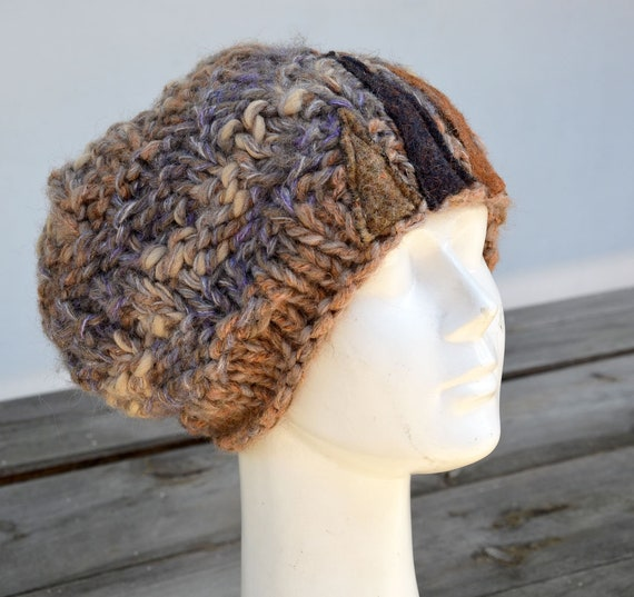 41932cc978a artisan Slouchy big Grey beret winter knit hat chunky woman