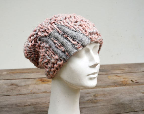 19844f7f9f3 Slouchy knit hat hand knitted pink grey soft warm chunky ooak