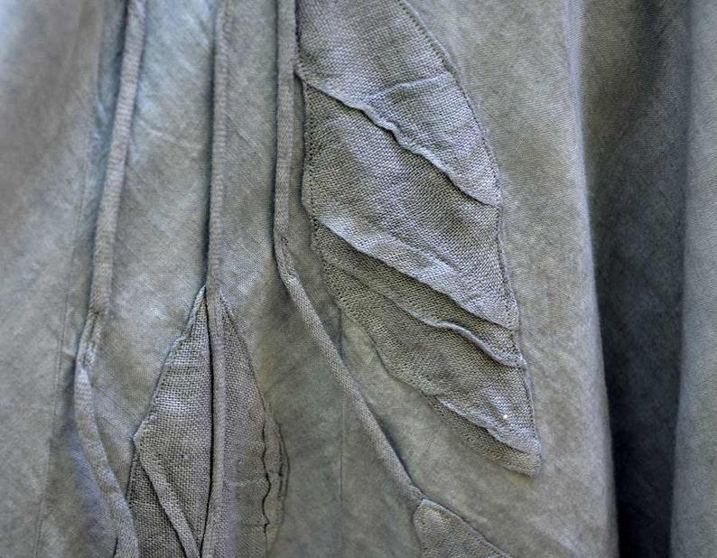 european linen bouble long skirt M size unique fashion design hand dyed blue flax hemp modern contemporary wearable art to wear baloon 184