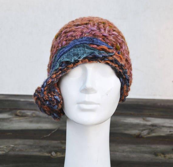 ba1ae0c9954 retro cloche hat brown felt 1920 1930 knit winter tangerine