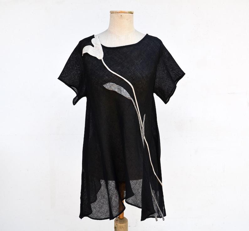 1371b16fa4d Long light black linen tunic tank sculptural floral applique | Etsy