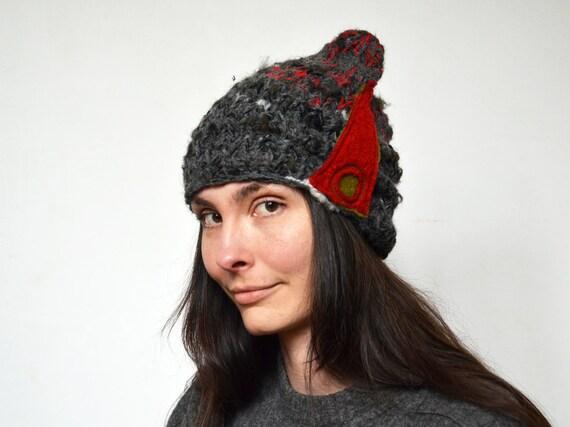4385333594f Fancy Knit beanie soft warm winter hat red felt decoration