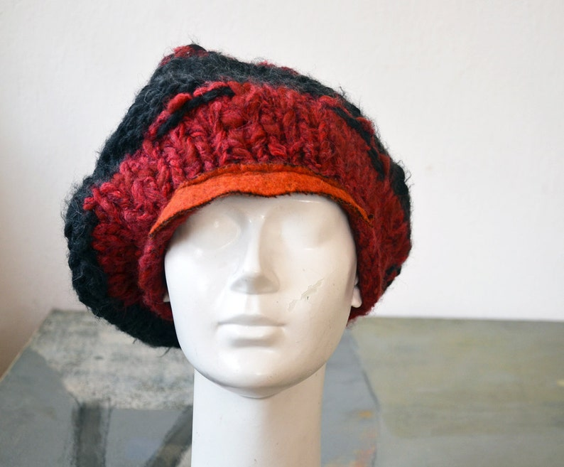 e151902ad63 Slouch knit big red grey visor beret orange wool felt