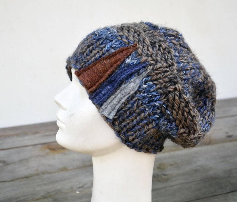 4e32f703af1 Cobalt blue big Hand knited Slouchy hat soft warm ooak unique