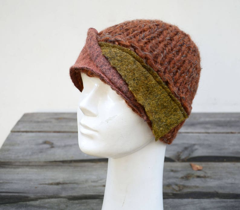 34e1facc4d9 Fancy brown hat Patchwork felted wool knited unique warm ooak