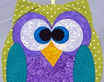 Horned Owl Mug Rug - Sage and Teal