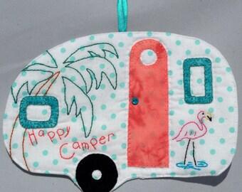Vintage Trailer Happy Camper Mug Rug - Aqua Dots Flamingo