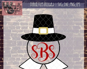 Thanksgiving Pilgrim Hat Monogram with SVG, DXF, PNG, Eps Commercial & Personal Use