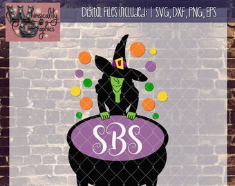 Witch's Cauldron for Monogram with SVG, DXF, PNG, Eps Commercial & Personal Use