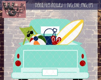 Beach Time Fun Truck With SVG DXF PNG Eps Commercial Personal Use