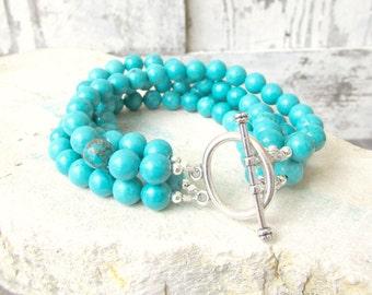Mulit Strand Turquoise Bracelet. Chunky Round Turquoise Howlite Bracelet. Multi Strand Toggle Bracelet. Turquoise Jewelry. Howlite Jewelry