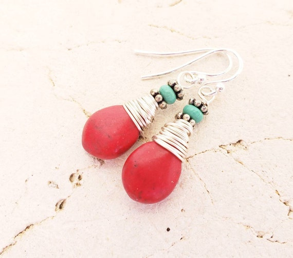 Red and Turquoise Jewelry Wire Wrapped Red and Turquoise Earrings.Red Dangle Earrings.Red and Turquoise Drop Earrings Red Earrings