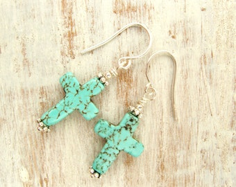 Turquoise Cross Earrings. Turquoise and Bali Sterling Silver Dangle Earrings. Turquoise Earrings. Cross Jewelry. Religious Jewelry