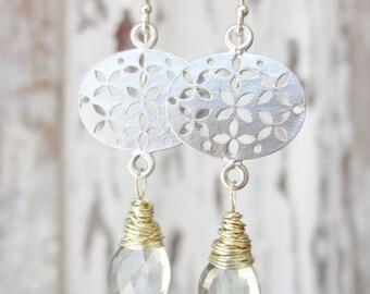 Green Mystic Quartz Earrings. Wire Wrapped Briolette Dangle Earrings. Silver Filigree Earrings. Green Mystic Quartz Jewelry