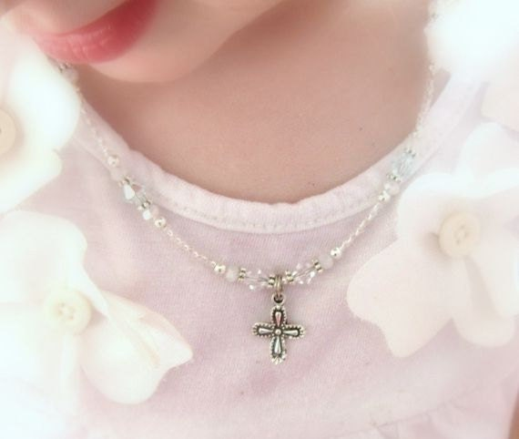 Confirmation Gift Rose Gold Gold Cross Custom Mini Bar Necklace Cross Necklace Gift from Godmother Baptism Necklace Christening Gift