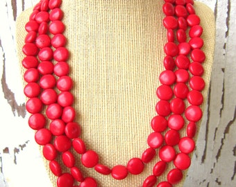 Red Turquoise Necklace.Triple Strand Red Howlite Necklace. Red Statement Necklace. Red Jewelry. Red Necklace. Red Bridesmaid Jewelry