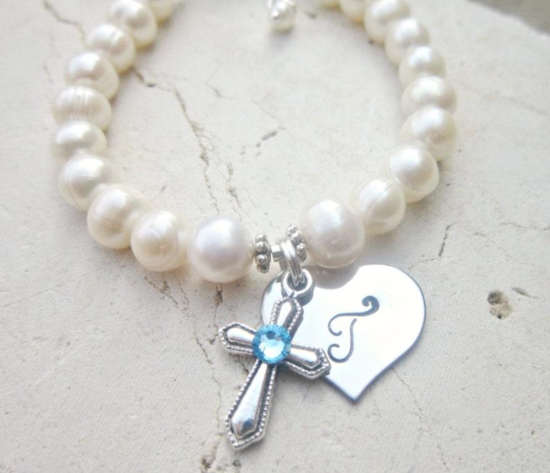 Honey Christening Holy Communion Flower Bracelet Engraved Heart Charm Gift In Pink Baby & Toddler Clothing