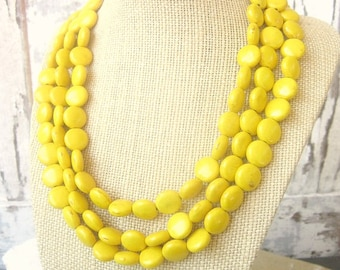 Yellow Turquoise Statement Necklace. Triple Strand Yellow Howlite Necklace.Yellow Jewelry. Yellow Necklace. Yellow Bridesmaid Jewelry