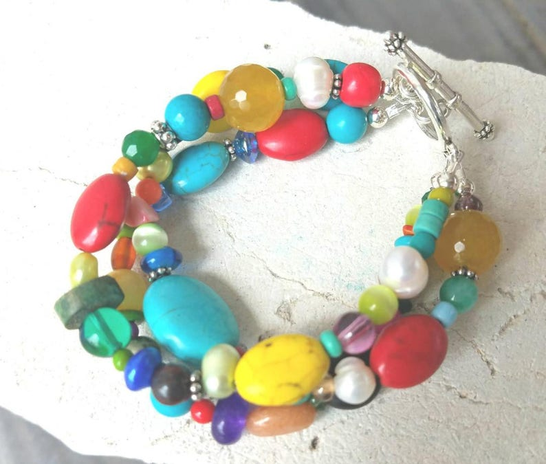 Handmade. Beadwork Turquoise Stone Bracelet Crystals Triple-strand Toggle plated in sterling silver