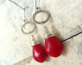 Red Coral Earrings.Red Earrings.Sterling Wire Wrapped Red Briolette Earrings. Red Dangle Earrings. Red Coral Jewelry. Red Jewelry.