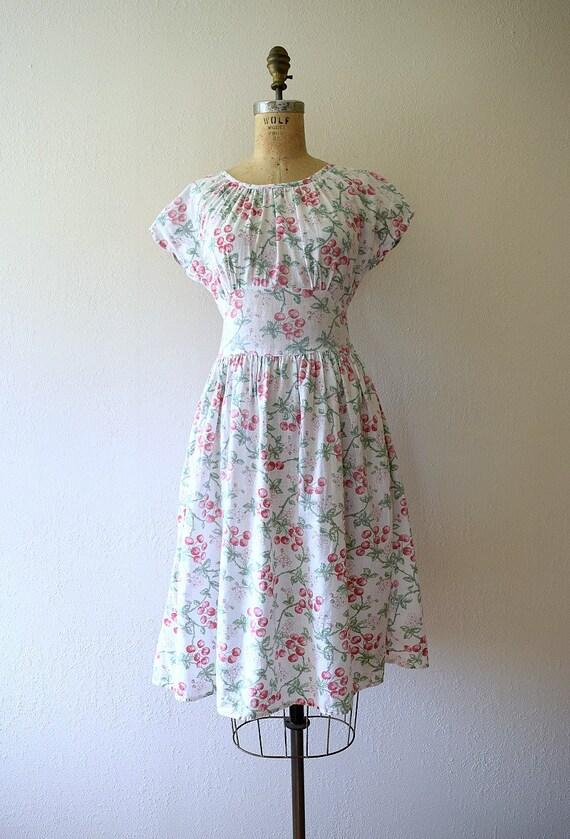 1940s cherry print dress . vintage 40s novelty pr… - image 2