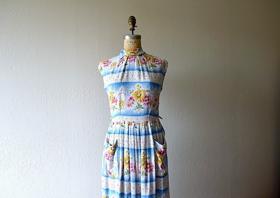 1950s dress . vintage 40s striped floral dress - image 1