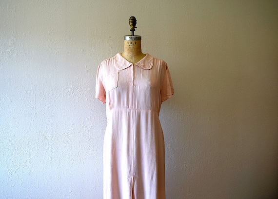 1930s vintage dress . pink 30s dress