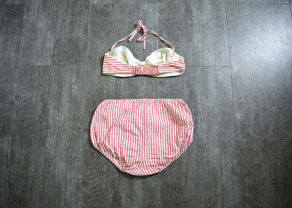 1940s bikini . vintage 40s striped swimsuit - image 2