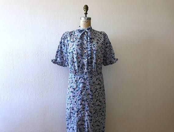 1930s floral print dress . vintage 30s dress