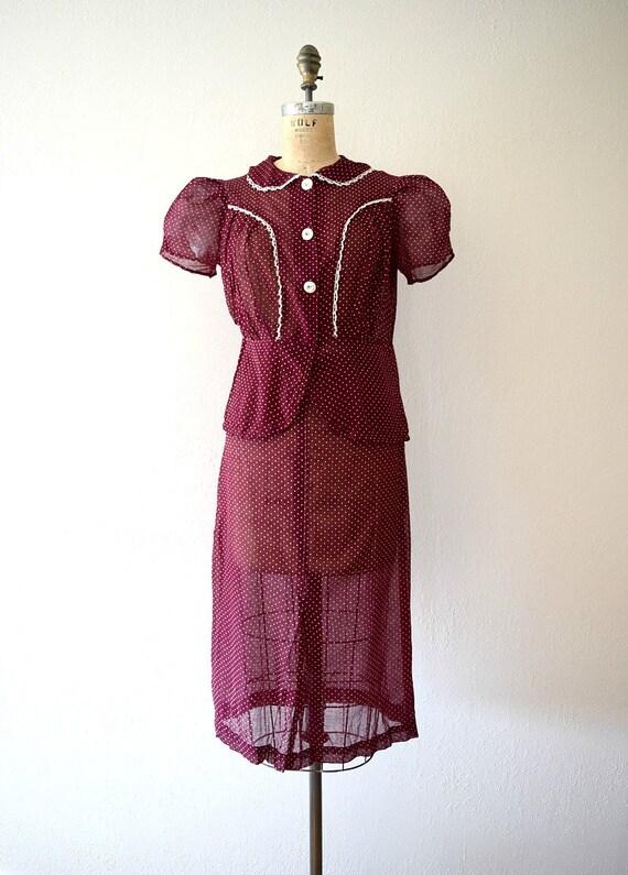 1930s dress set . vintage 30s puffed sleeve dress - image 3